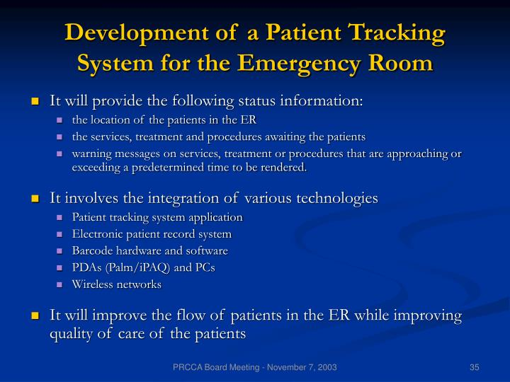 Development of a Patient Tracking System for the Emergency Room