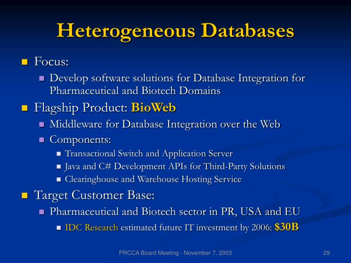 Heterogeneous Databases