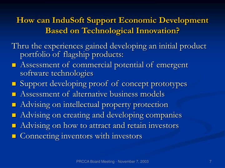 How can InduSoft Support Economic Development Based on Technological Innovation?