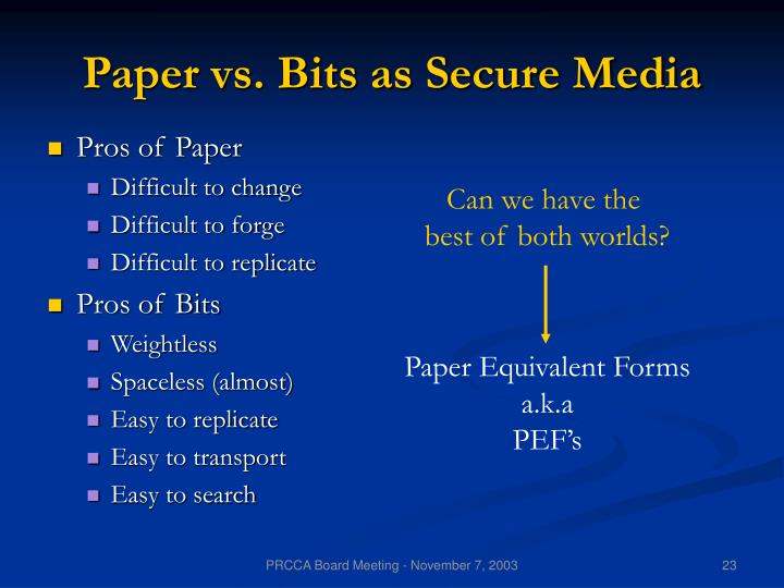 Paper vs. Bits as Secure Media