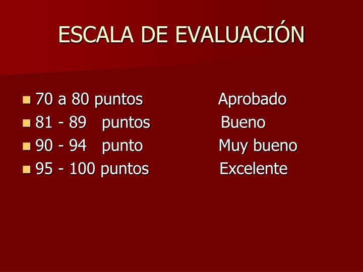 ESCALA DE EVALUACIÓN