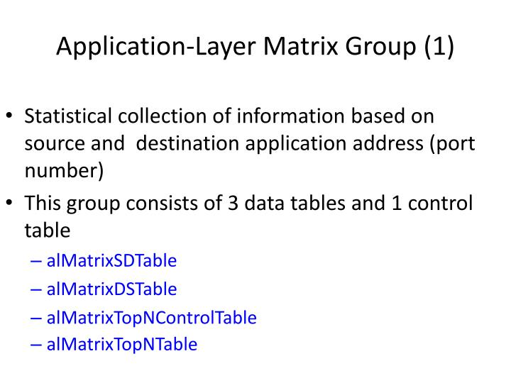 Application-Layer Matrix Group (1)