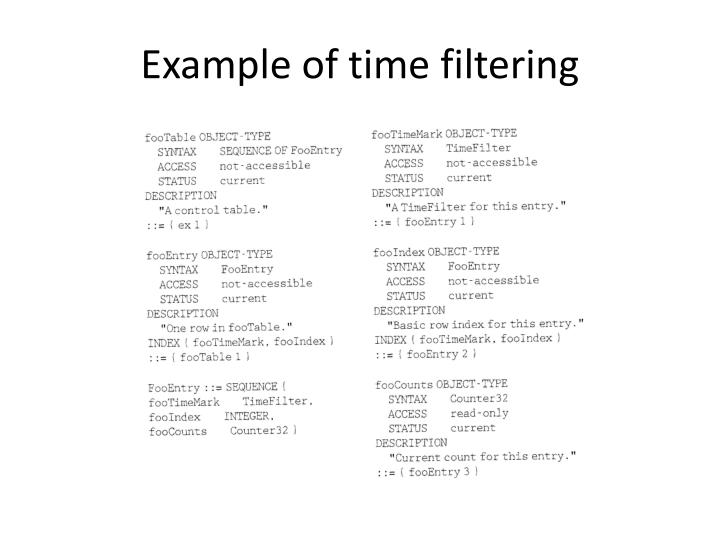 Example of time filtering