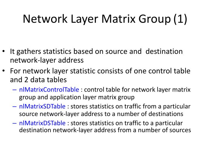 Network Layer Matrix Group