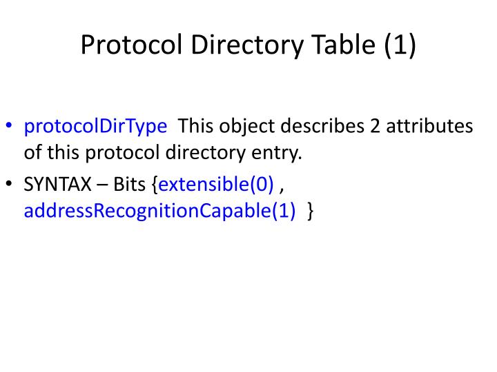 Protocol Directory Table (1)