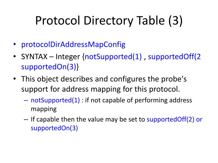 Protocol Directory Table (3)