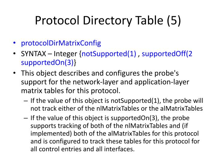 Protocol Directory Table (5)