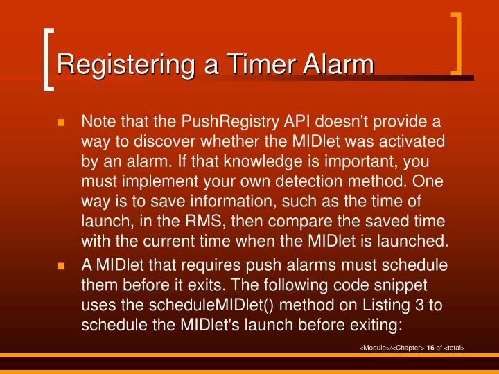 Registering a Timer Alarm