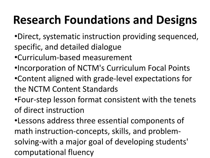 Research Foundations and Designs