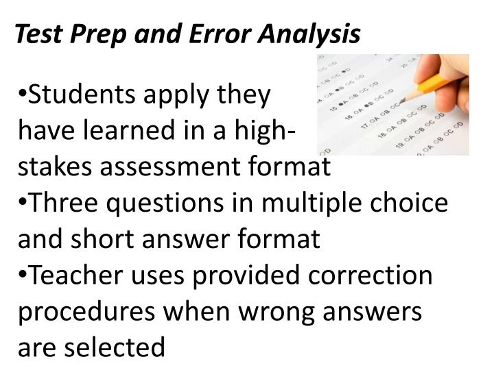 Test Prep and Error Analysis