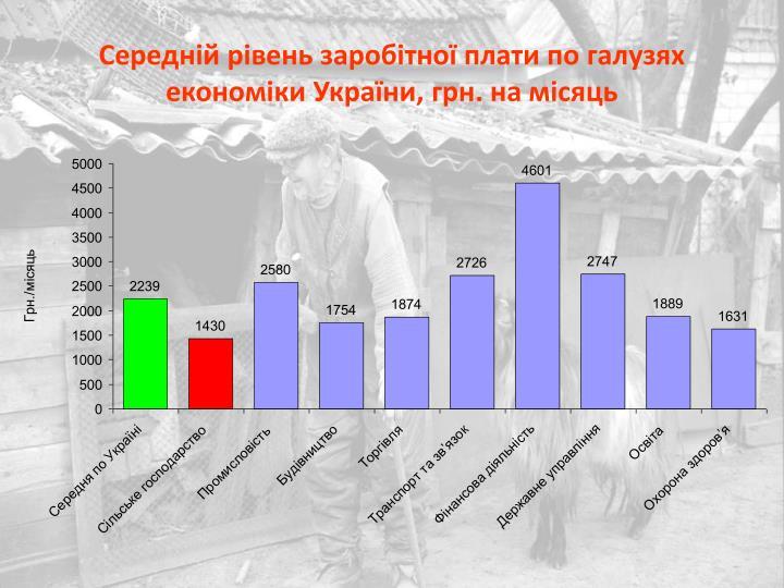Середній рівень заробітної плати по галузях економіки України, грн. на місяць