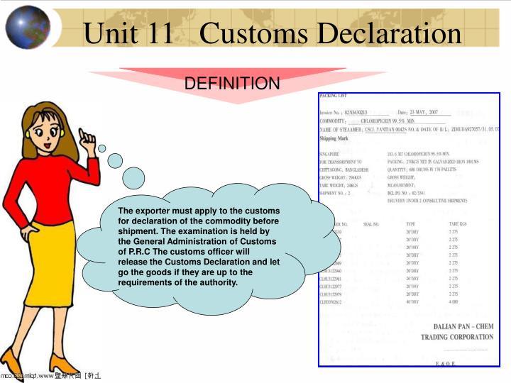 Unit 11   Customs Declaration