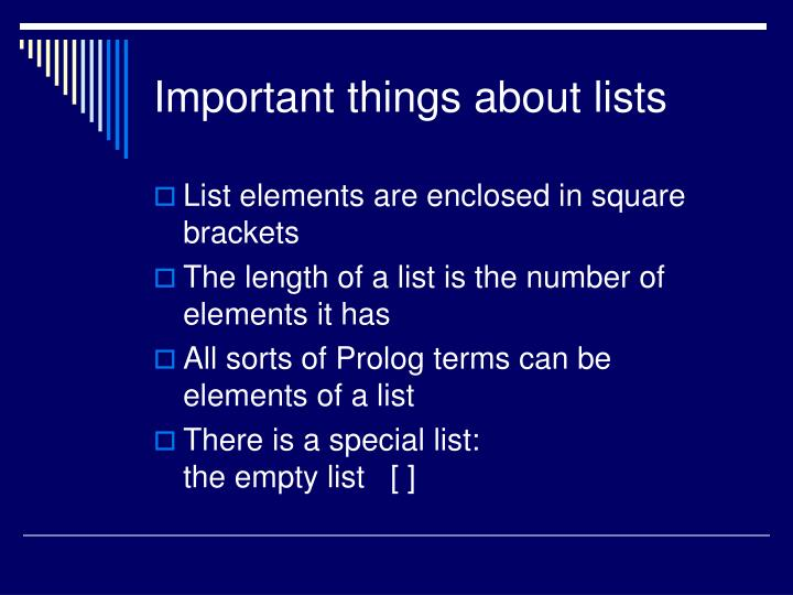 Important things about lists