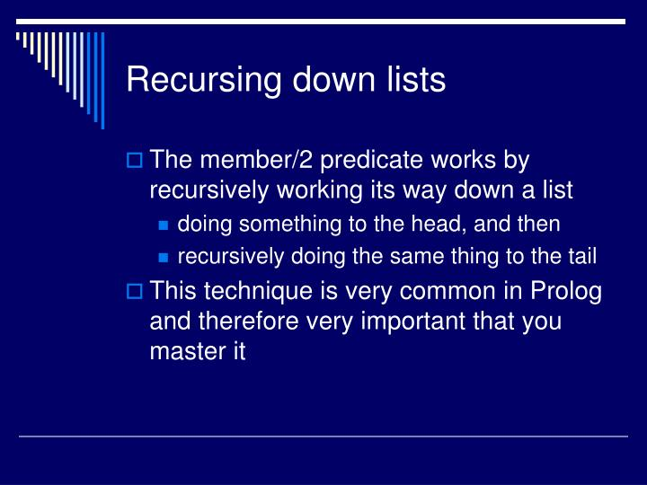 Recursing down lists
