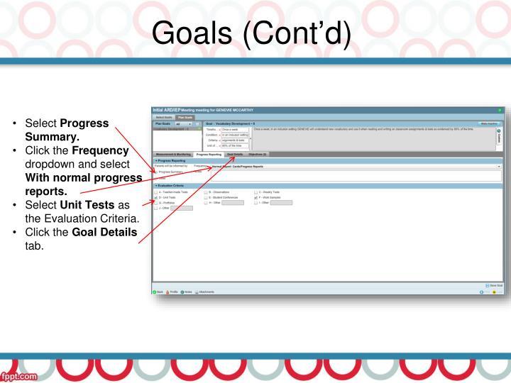 Goals (Cont'd)