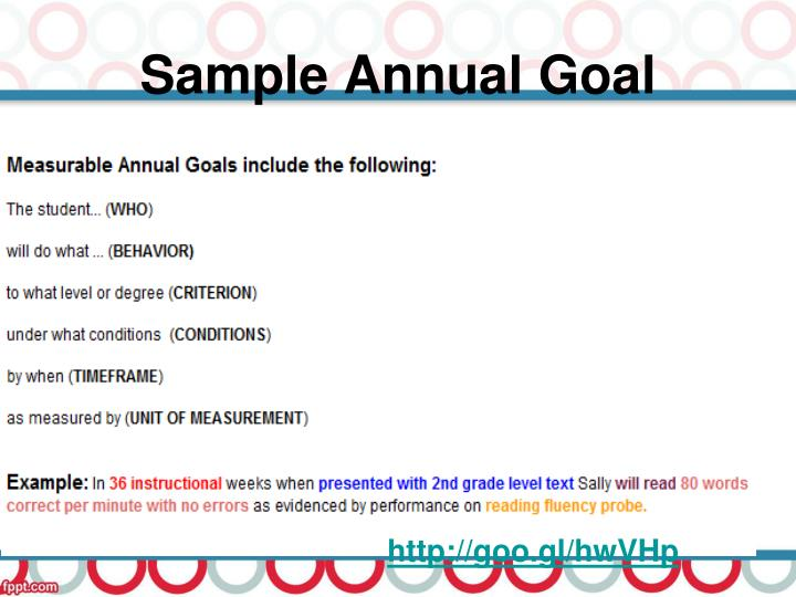 Sample Annual Goal