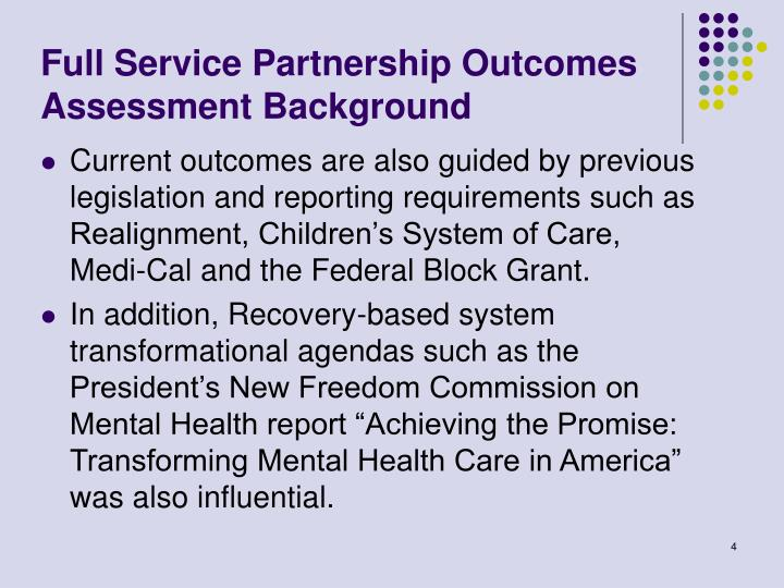 Full Service Partnership Outcomes Assessment Background