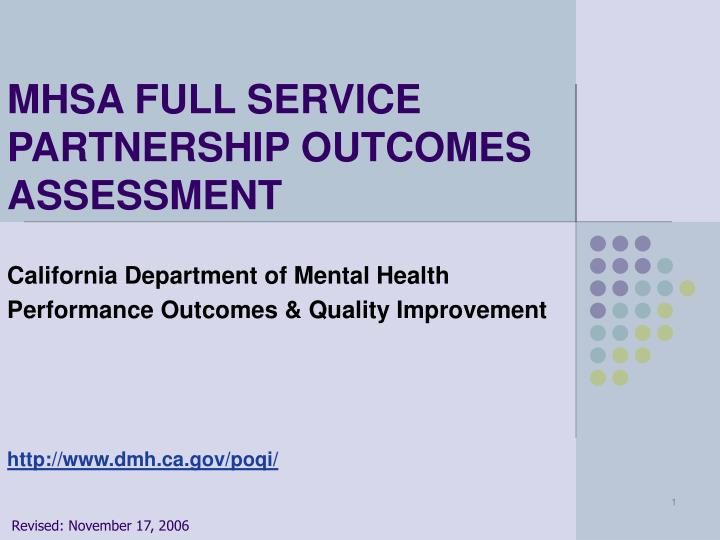 Mhsa full service partnership outcomes assessment