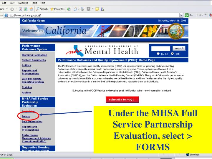 Under the MHSA Full Service Partnership Evaluation, select > FORMS