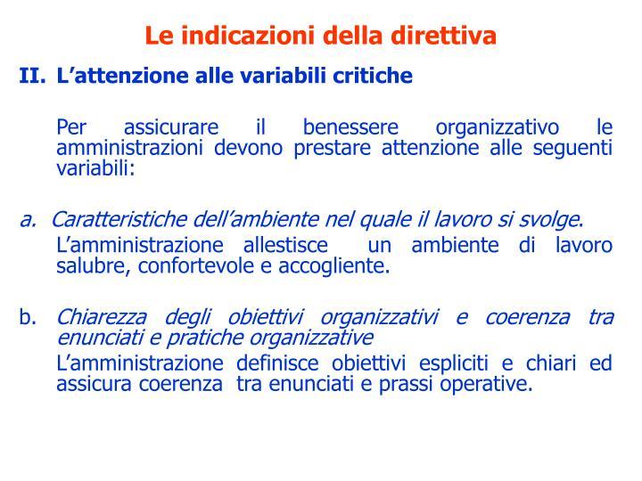 Le indicazioni della direttiva