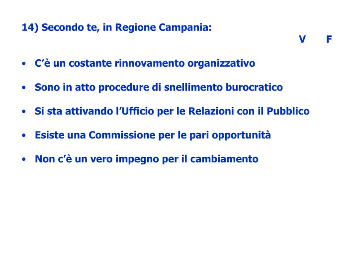 14) Secondo te, in Regione Campania: