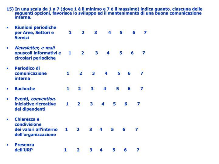 15) In una scala da 1 a 7 (dove 1 è il minimo e 7 è il massimo) indica quanto, ciascuna delle seguenti opzioni, favorisce lo sviluppo ed il mantenimento di una buona comunicazione interna.