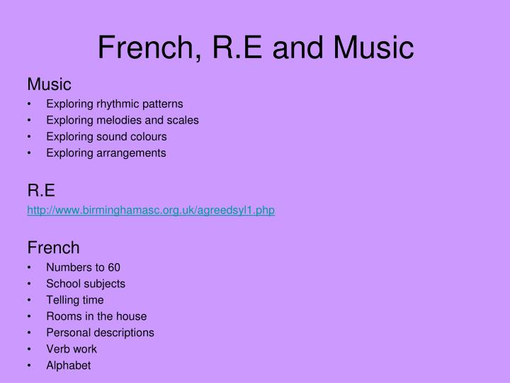 French, R.E and Music