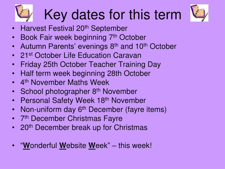 Key dates for this term