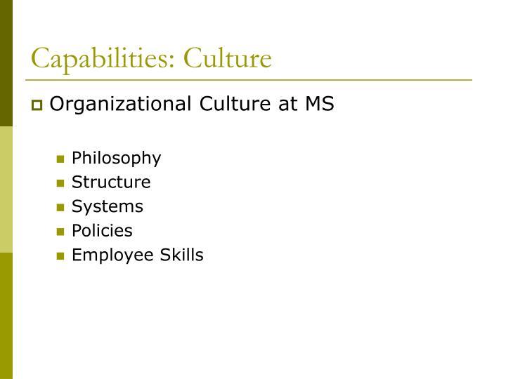 Capabilities: Culture