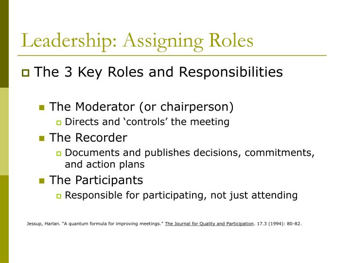 Leadership: Assigning Roles