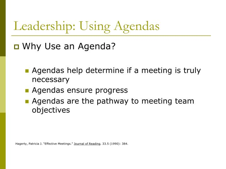 Leadership: Using Agendas