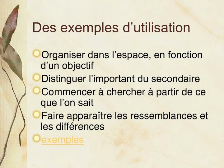 Des exemples d'utilisation