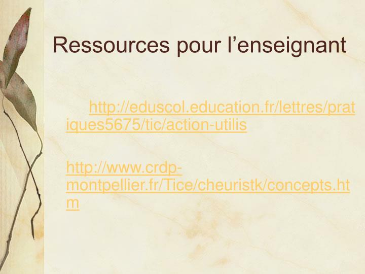 Ressources pour l'enseignant