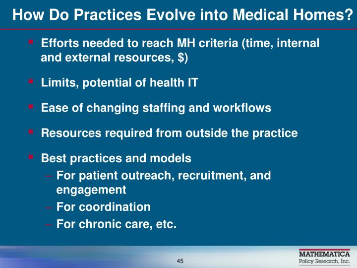 How Do Practices Evolve into Medical Homes?