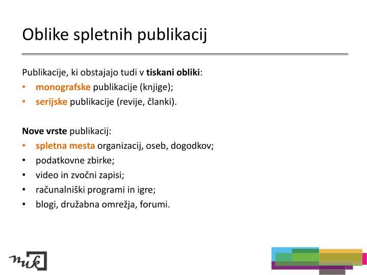 Oblike spletnih publikacij