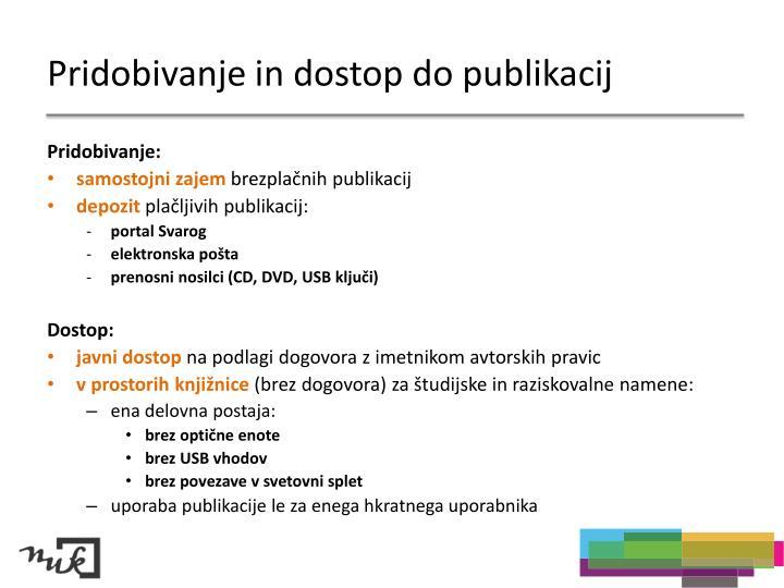 Pridobivanje in dostop do publikacij