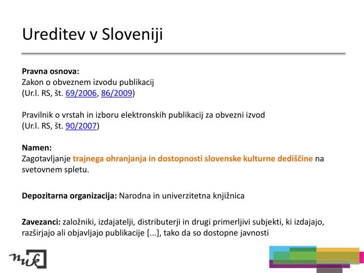 Ureditev v Sloveniji