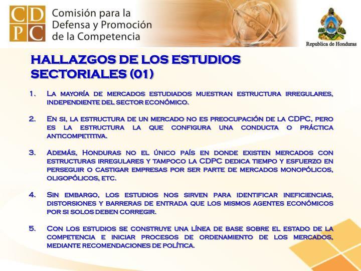 HALLAZGOS DE LOS ESTUDIOS SECTORIALES (01)