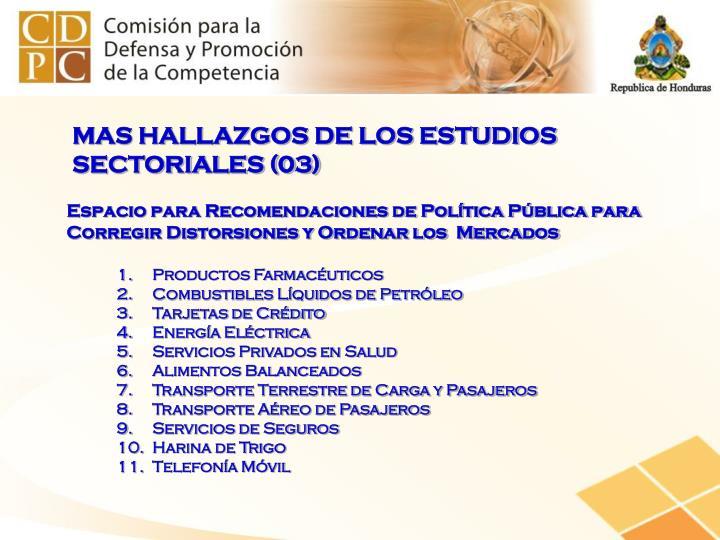 MAS HALLAZGOS DE LOS ESTUDIOS SECTORIALES (03)