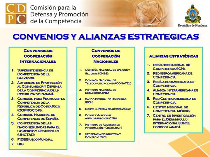 CONVENIOS Y ALIANZAS ESTRATEGICAS