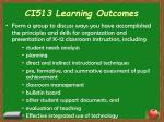 ci513 learning outcomes
