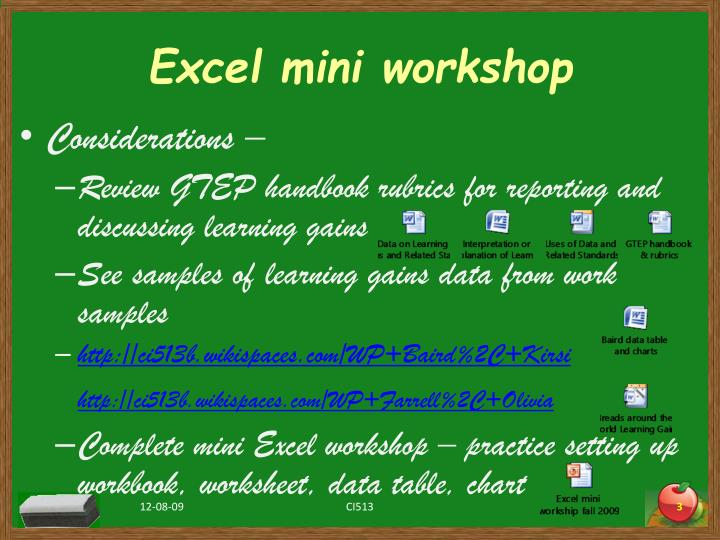 Excel mini workshop
