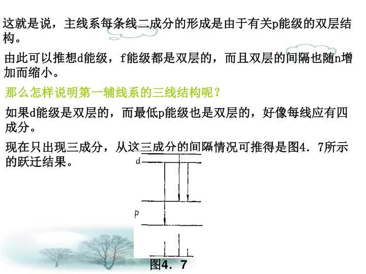 这就是说,主线系每条线二成分的形成是由于有关p能级的双层结构