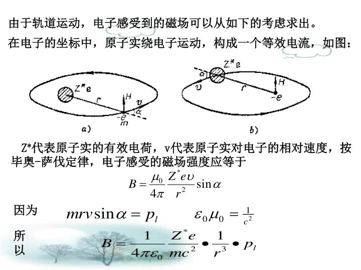 由于轨道运动,电子感受到的磁场可以从如下的考虑求出。