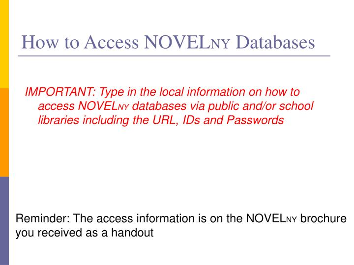 How to Access NOVEL