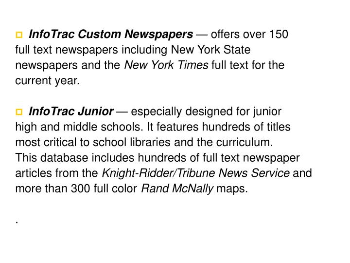 InfoTrac Custom Newspapers