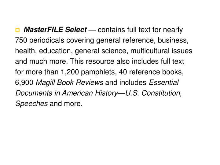 MasterFILE Select