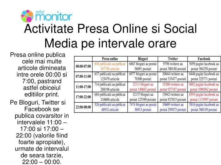 Activitate Presa Online si Social Media pe intervale orare