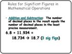 rules for significnt figures in mathematical operations