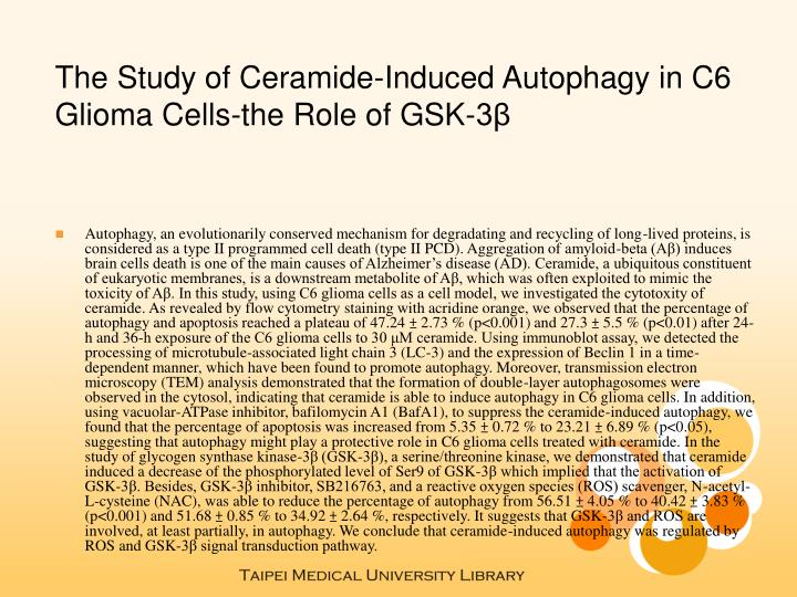 The Study of Ceramide-Induced Autophagy in C6 Glioma Cells-the Role of GSK-3β